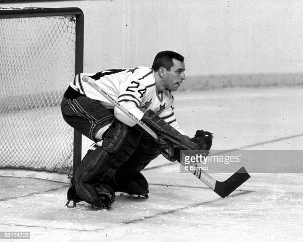 Goalie Eddie Giacomin of the NHL AllStars and the New York Rangers watches the play during the NHL AllStar game circa 1960's
