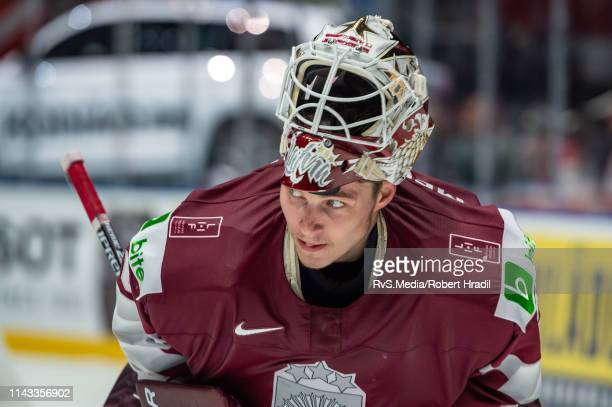 Goalie Elvis Merzlikins looks on during the 2019 IIHF Ice Hockey World Championship Slovakia group B game between Latvia and Switzerland at Ondrej...