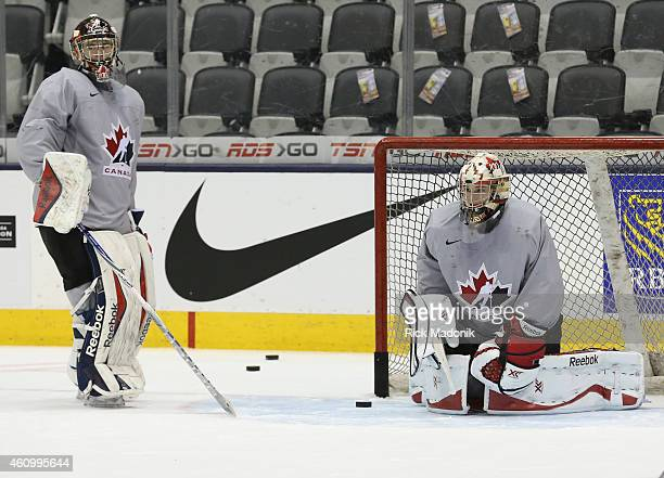 TORONTO JANUARY 3 Goalie Eric Comrie waits his turn in the net as Zachary Fucale works the net Team Canada practice at the Air Canada Centre on...
