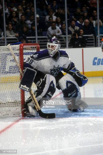 Goalie Felix Potvin of the Los Angeles Kings defends the net during an NHL game in April 2001 at the Staples Center in Los Angeles California