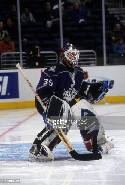 Goalie Felix Potvin of the Los Angeles Kings defends the net during an NHL game in March 2001 at the Staples Center in Los Angeles California