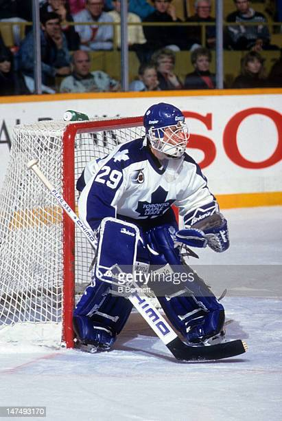 Goalie Felix Potvin of the Toronto Maple Leafs defends the net during an NHL game In November 1991 at the Maple Leaf Gardens in Toronto Ontario Canada