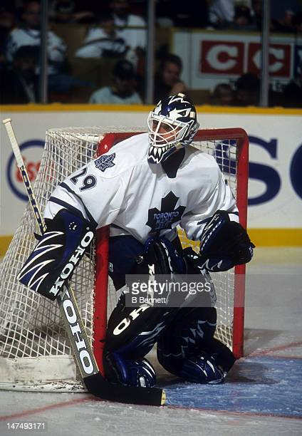 Goalie Felix Potvin of the Toronto Maple Leafs defends the net during an NHL game in October 1998 at the Maple Leaf Gardens in Toronto Ontario Canada