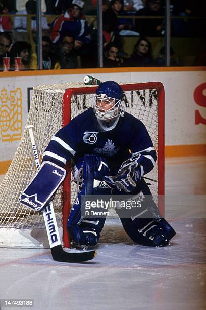 Goalie Felix Potvin of the Toronto Maple Leafs defends the net during an NHL game against the Chicago Blackhawks on November 14 1991 at the Chicago...