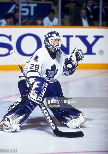 Goalie Felix Potvin of the Toronto Maple Leafs defends the net during Game 6 of the 1995 Conference QuarterFinals against the Chicago Blackhawks on...