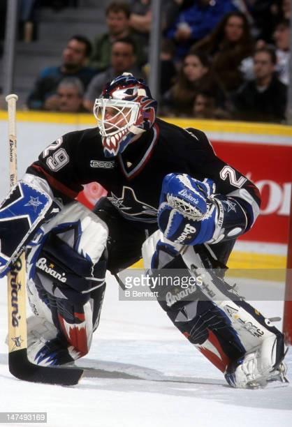 Goalie Felix Potvin of the Vancouver Canucks defends the net during an NHL game against the Edmonton Oilers on January 22 2000 at the Skyreach Centre...