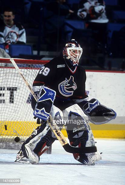 Goalie Felix Potvin of the Vancouver Canucks warmsup before an NHL game against the Buffalo Sabres on February 17 2000 at the HSBC Arena in Buffalo...