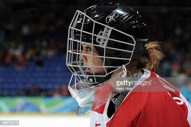 Goalie Florence Schelling of Switzerland looks on during the ice hockey women's classification 5th/6th game between Switzerland and the Russian...