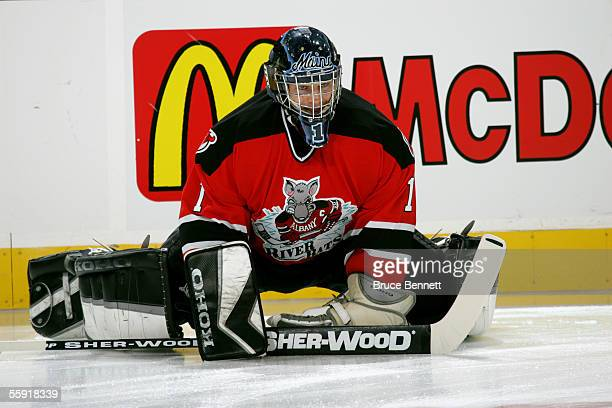 Goalie Frank Doyle of the Albany River Rats warmsup for the game against the Philadelphia Phantoms on October 9 2005 at the Wachovia Center in...