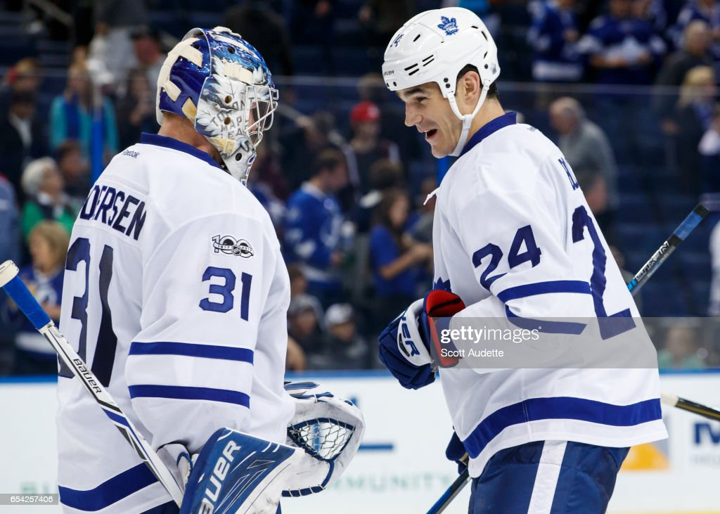 Goalie Frederik Andersen #31 and Brian Boyle #24 of the Toronto Maple Leafs celebrate the win against the Tampa Bay Lightning at Amalie Arena on March 16, 2017 in Tampa, Florida.