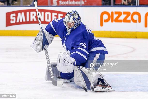 TORONTO ON FEBRUARY 10 Goalie Frederik Andersen of the Maple Leafs makes a save during the 2nd period of NHL action as the Toronto Maple Leafs host...