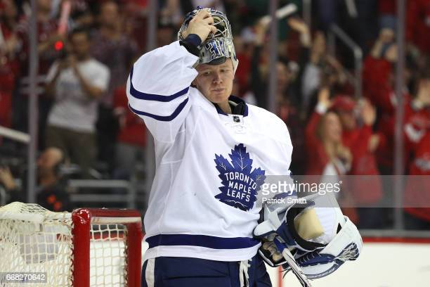 Goalie Frederik Andersen of the Toronto Maple Leafs looks on after allowing a goal to Justin Williams of the Washington Capitals in the second period...