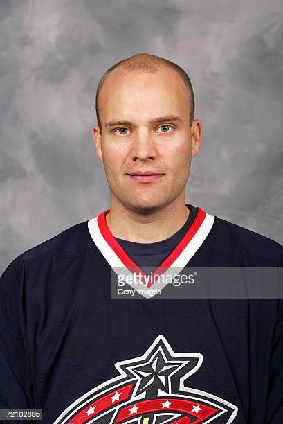 Goalie Fredrik Norrena of the NHL Columbus Blue Jackets poses for a portrait at Nationwide Arena on September 14 2006 in Columbus Ohio