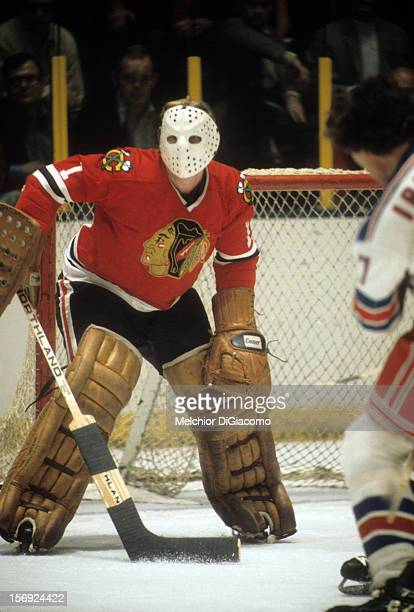 Goalie Gary Smith of the Chicago Blackhawks defends the net during an NHL game against the New York Rangers circa 1972 at the Madison Square Garden...