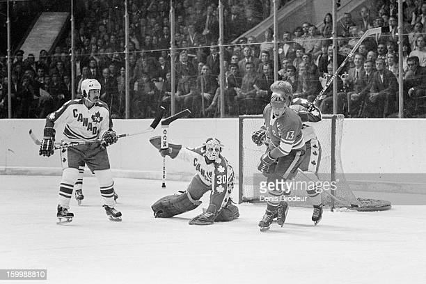 Goalie Gerry Cheevers of team Canada guards the goal against Boris Mikhailov of the Soviet Union during a Summit Series game September, 1974 in...