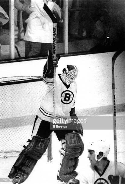 Goalie Gerry Cheevers of the Boston Bruins celebrates after shutting out the Montreal Canadiens after Game 3 of the 1978 Stanley Cup Finals on May...
