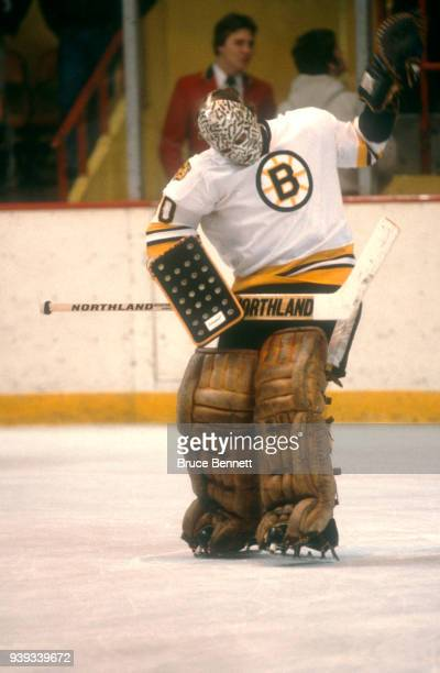 Goalie Gerry Cheevers of the Boston Bruins defends the net during an NHL game circa March, 1980 at the Boston Garden in Boston, Massachusetts.