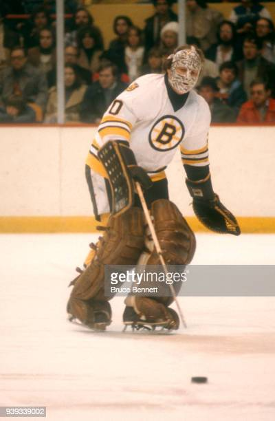 Goalie Gerry Cheevers of the Boston Bruins follows the puck during an NHL game circa December, 1978 at the Boston Garden in Boston, Massachusetts.