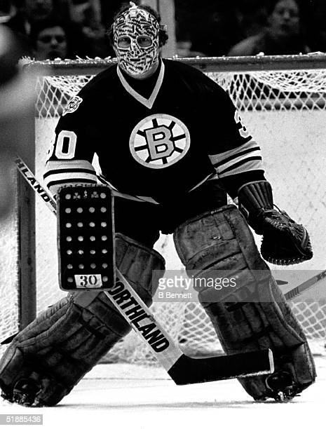 Goalie Gerry Cheevers of the Boston Bruins guards the net during a game in the late 1970's.