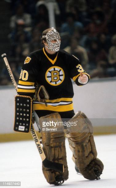 Goalie Gerry Cheevers of the Boston Bruins skates on the ice during an NHL game circa 1978