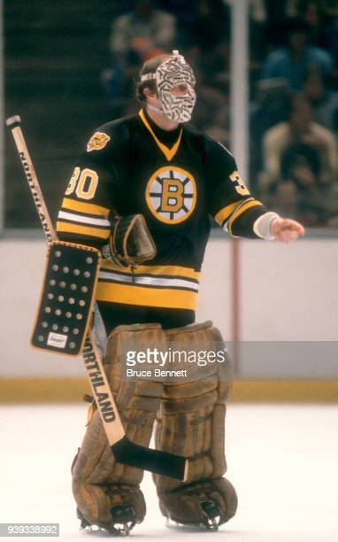 Goalie Gerry Cheevers of the Boston Bruins skates on the ice during an NHL game against the New York Islanders on March 8, 1980 at the Nassau...