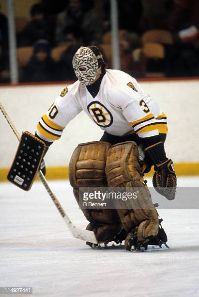 Goalie Gerry Cheevers of the Boston Bruins warms up before an NHL game circa March, 1980 at the Boston Garden in Boston, Massachusetts.
