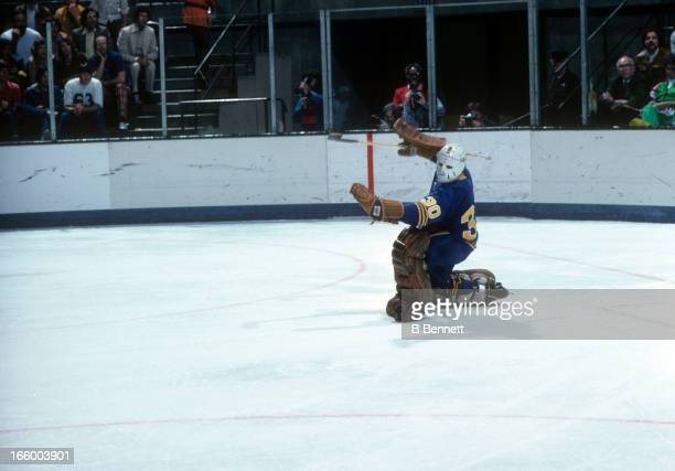 Goalie Gerry Desjardins of the Buffalo Sabres makes the save during an NHL game against the California Golden Seals circa 1976 at the Oakland...