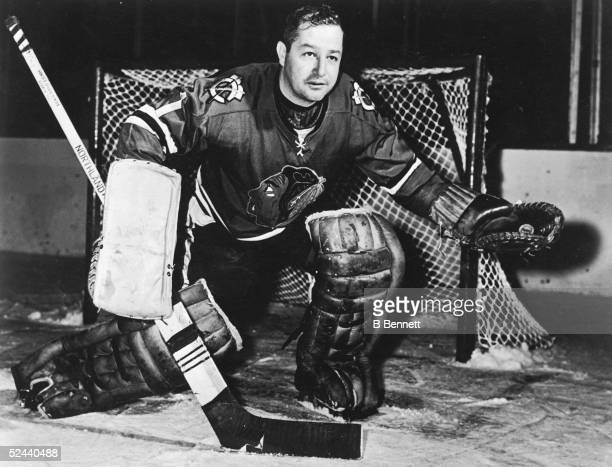 Goalie Glenn Hall of the Chicago Blackhawks poses for a portrait circa 1960's at Chicago Stadium in Chicago, Illinois.