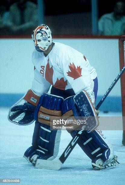 Goalie Grant Fuhr of Team Canada warmsup before the 1984 Canada Cup against Team USA on September 3 1984 at the Montreal Forum in Montreal Quebec...