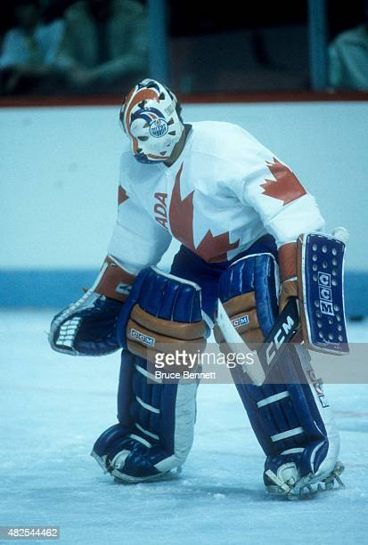 Goalie Grant Fuhr of Team Canada warms-up before the 1984 Canada Cup against Team USA on September 3, 1984 at the Montreal Forum in Montreal, Quebec,...