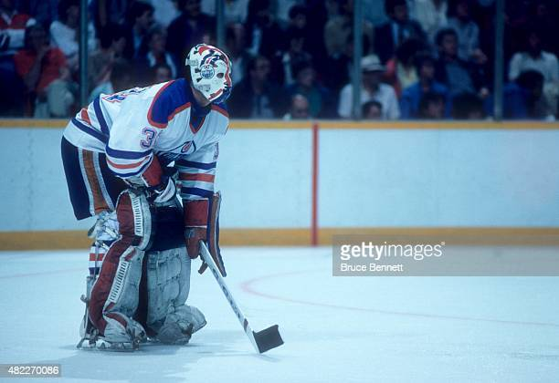 Goalie Grant Fuhr of the Edmonton Oilers defends the net during an 1985 Stanley Cup Finals game against the Philadelphia Flyers in May 1985 at the...