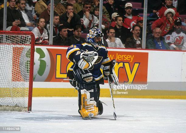 Goalie Grant Fuhr of the St Louis Blues defends the net during an NHL game against the New Jersey Devils on December 23 1998 at the Contenental...