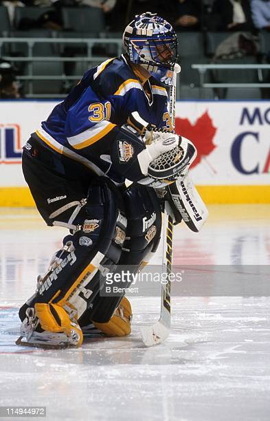 Goalie Grant Fuhr of the St Louis Blues defends the net during an NHL game against the Toronto Maple Leafs on April 5 1999 at the Air Canada Centre...