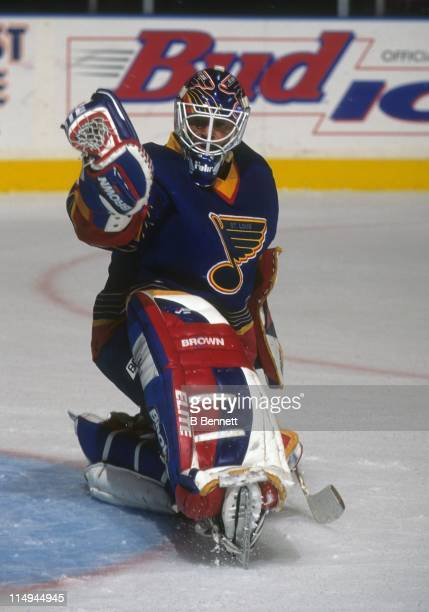 Goalie Grant Fuhr of the St Louis Blues makes the save during an NHL game against the New York Rangers on October 18 1996 at the Madison Square...