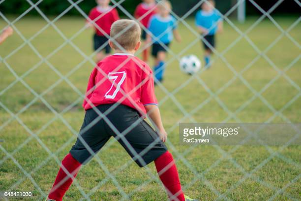 goalie guarding the net - fat goalkeeper stock pictures, royalty-free photos & images