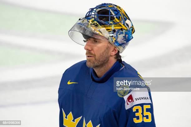 Goalie Henrik Lundqvist looks on during the Ice Hockey World Championship Quarterfinal between Switzerland and Sweden at AccorHotels Arena in Paris...