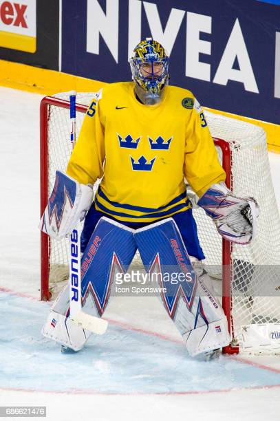 Goalie Henrik Lundqvist looks on during the Ice Hockey World Championship Gold medal game between Canada and Sweden at Lanxess Arena in Cologne...