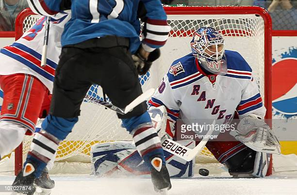 Goalie Henrik Lundqvist of the New York Rangers lets a shot by Matt Duchene of the Colorado Avalanche go five hole for a second period goal at the...