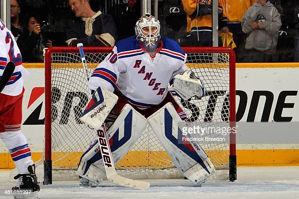 Goalie Henrik Lundqvist of the New York Rangers warms up prior to a game against of the Nashville Predators at Bridgestone Arena on November 23 2013...