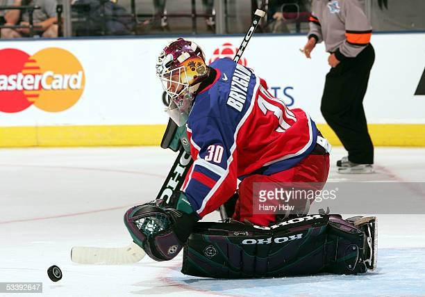 Goalie Ilya Bryzgalov of Team Russia makes a save against Team Slovakia during the first period of their game in the World Cup of Hockey on September...
