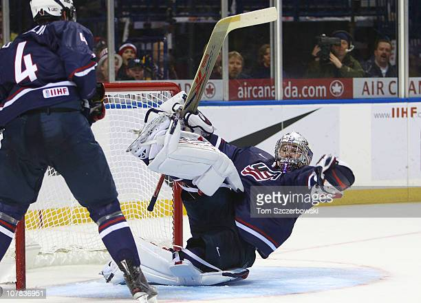 Goalie Jack Campbell of USA catches a loose puck during the 2011 IIHF World U20 Championship game between USA and Switzerland on December 31, 2010 at...