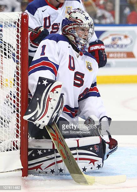 Goalie Jack Campbell of USA crouches in goal during the 2011 IIHF World U20 Championship Group A game between USA and Finland on December 26, 2010 at...