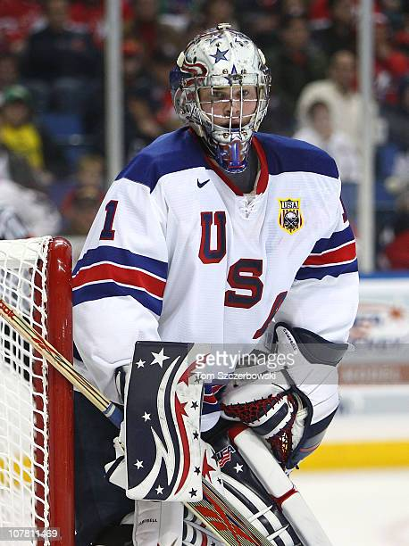 Goalie Jack Campbell of USA during the 2011 IIHF World U20 Championship Group A game between USA and Finland on December 26, 2010 at HSBC Arena in...