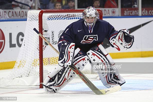Goalie Jack Campbell of USA protects the goal during the 2011 IIHF World U20 Championship game between USA and Switzerland on December 31, 2010 at...