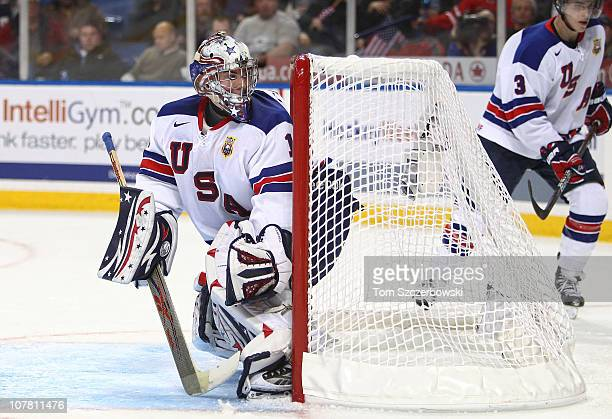 Goalie Jack Campbell of USA protects the net during the 2011 IIHF World U20 Championship Group A game between USA and Finland on December 26, 2010 at...