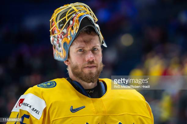 Goalie Jacob Markstrom looks on during the 2019 IIHF Ice Hockey World Championship Slovakia group game between Norway and Sweden at Ondrej Nepela...