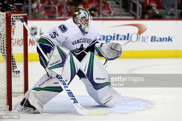 Goalie Jacob Markstrom of the Vancouver Canucks follows the puck in the second period against the Washington Capitals at Verizon Center on December...
