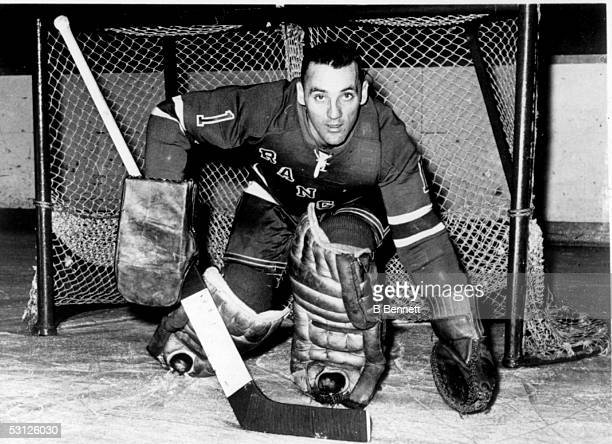 Goalie Jacques Plante of the New York Rangers poses for a portrait circa 1963 in New York New York