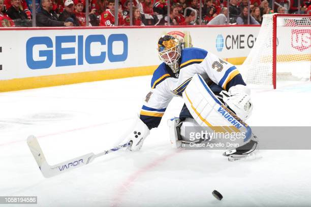 Goalie Jake Allen of the St Louis Blues gets in position for the puck during the game against the Chicago Blackhawks at the United Center on October...