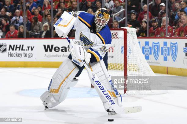 Goalie Jake Allen of the St Louis Blues guards the net against the Chicago Blackhawks at the United Center on October 13 2018 in Chicago Illinois The...